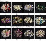 Decoratie van de Spijker van de Bergkristallen van Art& van de Spijker van het Kristal van niet-Hoxfit van de Bergkristallen van het Kristal van Bling de Citroengele Ab Vlakke Achter (nr-11)