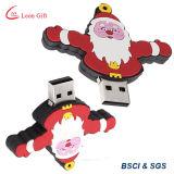 Azionamento di gomma del USB del PVC della Santa 2GB/4GB/8GB/16GB/32GB dei regali di promozione