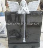 De zwarte Cherubijn van de Engel van de Steen van het Graniet met de Grafsteen van het Ontwerp van het Boek
