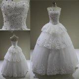 Vestido de casamento de perolização pesado feito sob encomenda do vestido de esfera de Tulle dos Sequins dos cristais