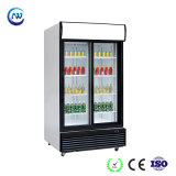 Refrigerador ereto do indicador do refresco da porta de vidro de deslizamento (LG-1000BFS)