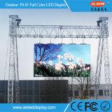 Tela video da parede do diodo emissor de luz do arrendamento ao ar livre da cor P4.81 cheia para o projeto grande