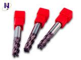 Da flauta contínua revestida do carboneto 4 de D10X25X75lx4f HRC45 Tialn moinho de extremidade quadrado liso