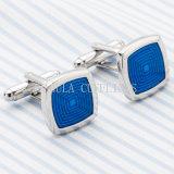 Het Zilver VAGULA plateerde Blauw Schilderend Vierkante Manchetknoop 699 van het Huwelijk