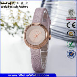 Montre de dames occasionnelle classique de quartz de courroie en cuir d'usine (Wy-089B)