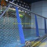 La pared anudada decorativa del verde del helipuerto del pasamano del puente de suspensión de la barandilla del balcón de la escalera del pájaro de la pajarera de los animales del parque zoológico del cable del acero inoxidable X-Tiende la red de la cuerda