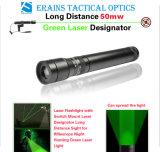 新しい長距離50mw緑レーザーデジグネーター/視力(ES-G25-M)