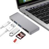 Type-C 3.0 5 en 1 Adaptador Multi-Port aluminio Sincronización de datos de carga Card Reader Hub USB para MacBook