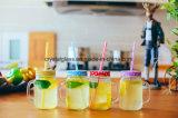 Trinkendes Flaschen-Saft-Glas mit MetallLid& Plastikstroh