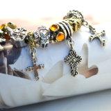 Rhinestone-Weinlese-Silber/Gold-Farbe Inner-Kugel-Kreuz-Strang bördelt Armbänder