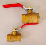 Buena vávula de bola de cobre amarillo de la culata en T 600wog del NPT de la calidad