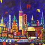 Sh071 100% 훈장 도시 조경 화포 예술 벽 유화가 Handmade 고품질 색칠에 의하여 집으로 돌아온다