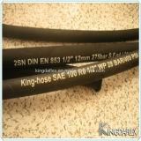 Mangueira de borracha hidráulica reforçada trançada de fibra (SAE100 R3 / R6)