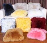 純粋なオーストラリアの羊皮のプラシ天の長いウールの毛皮のソファーの枕