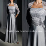 Graue Spitze-Satin-Mutter der Braut-Kleid-langen Abend-Kleider M13522