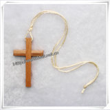 Простой деревянный крест подвесной ожерелья, ожерелья ювелирные изделия (IO -082)