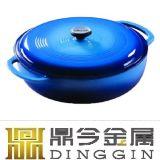 青いエナメルを塗られた鋳鉄の調理器具の円形の浅いカセロールの鍋30cm