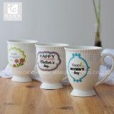 tasses de porcelaine de 320ml Liling/tasses blanches estampées de porcelaine
