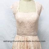 ホローバックに膝長さの結婚披露宴の服が付いているレースの新婦付添人の服