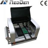A máquina Neoden4 da picareta e do lugar com o bocal 4 equipa câmeras e alimentador da vibração, iluminação do diodo emissor de luz
