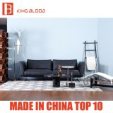 2017の新しい現代上の穀物のソファの黒の革ソファーの家具
