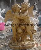 Giardino di pietra di marmo bianco che intaglia statua con le ali