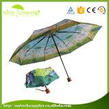Paraguas compacto manual del doblez de madera de la maneta 3