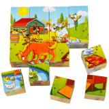 Brinquedo educacional da criança Jigsaw de madeira do enigma da exploração agrícola do bloco do enigma 3D