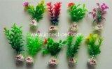 Erba artificiale della pianta acquatica d'imitazione chiara poco costosa per la ciotola dei pesci