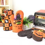 Halloweenの昇進の習慣は綿の耐熱性鍋つかみの台所オーブンのミットセットを印刷した