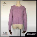 Дамы новый стиль снова открыть трикотаж фиолетовый пуловер