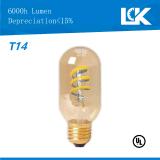6W 650lm E26 T14 nova espiral de filamento de lâmpada de luz LED retro