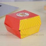 Caja de embalaje a todo color del papel de imprenta con la maneta para la hamburguesa