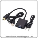 Hv301 1080P HDMI aan VGA Convertor met Micro- USB 3.5mm Audio