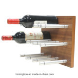 Clavijas montadas en la pared de aluminio del vino de Rod del estante del vino con la placa de madera