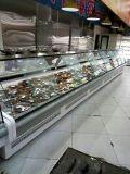 Geladeira personalizado vidro curvo deslizante do refrigerador de apresentação de carnes frescas