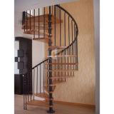 純木の踏面が付いている炭素鋼の現代的な家の螺旋階段