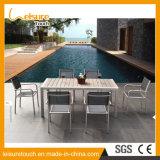 Europäische Art-Kaffee-Drahtziehen AluminiumPolywood Stuhl-Tisch-gesetzte moderne Garten-Gaststätte-im Freienpatio-Möbel