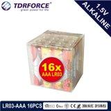 Ce/ISO 16PCS/Box를 가진 1.5volt 1 차적인 건조한 알카리 전지 5 년 재고 유효 기간 (LR03/AM-4/AAA)