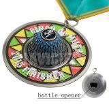 Médaille en alliage de zinc de forme d'ouvreur de bouteille de fonction de moulage d'émail de cadeau de souvenir