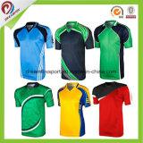 Os Mens lisos de Jersey do grilo dos t-shirt do esporte de Jersey do grilo do poliéster do Sublimation refrigeram o críquete Jersey do Sublimation