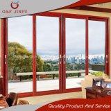 Puerta deslizante de cristal del grano del doble de aluminio de madera del perfil para el balcón
