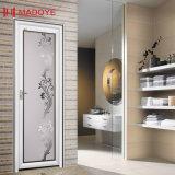 Puerta de aluminio del cuarto de baño del material de construcción del grano de madera con el vidrio hueco