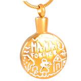 Collana Pendant dell'urna dei monili di cremazione placcata oro per la cenere Wholsesale