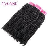 Yvonne brasileño el cabello rizado el rizo de cabello virgen teje cabello humano.