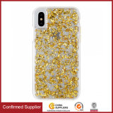 Caixas abundantes híbridas encaixadas luxuosas do telefone da folha de ouro de Bling do Glitter