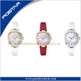 Natur-Perlen-Shell-Vorwahlknopf-Goldkasten rote Laether Brücke-Armbanduhr-Damen