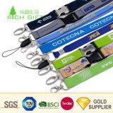 中国の卸し売り習慣は管状の二重味方された印刷されたスポーツのブランドのロゴの締縄を編んだ
