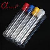 Lab médicaux jetables en plastique clair tube à essai avec bouchon à vis