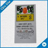 Etiquetas de cuidado de lavagem da impressão para acessórios do fato